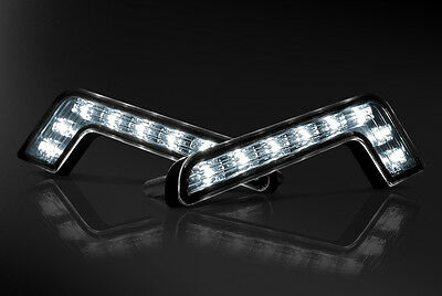 One Pair - Car Universal Fitting 'L-Shaped' 8 LED Daytime Running Lights (DRL)