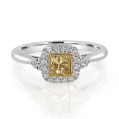 Echter 0,61 Ct Natürlich Schick Gelb Diamanten Verlobungsring 18k Hochzeitsschmuck