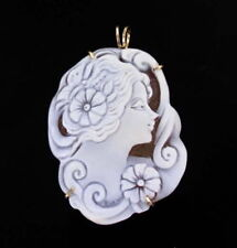 Large Cameo Necklace Pendant  in 14kt Rolled Gold Setting