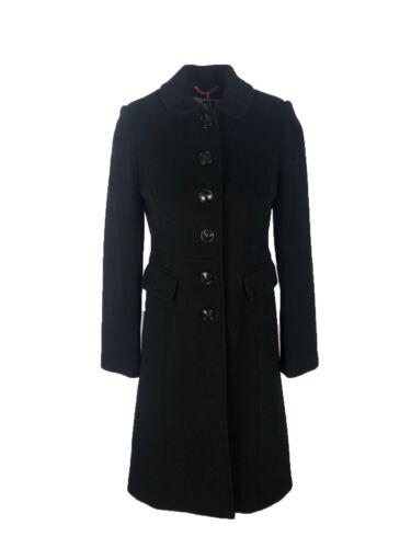 Ex Branded Black Sofia Coat Wool Cashmere Blend Size 6 Petite