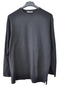 Corneliani-Tendencia-para-Hombre-Xl-Negro-Algodon-Elastano-Camiseta-Manga-Larga-Henley-De-Coleccion