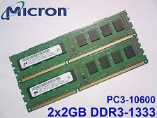 4GB 2x2GB DDR3-1333 PC3-10600 1333MHz MICRON MT8JTF25664AZ-1G4D1 PC RAM MEMORY
