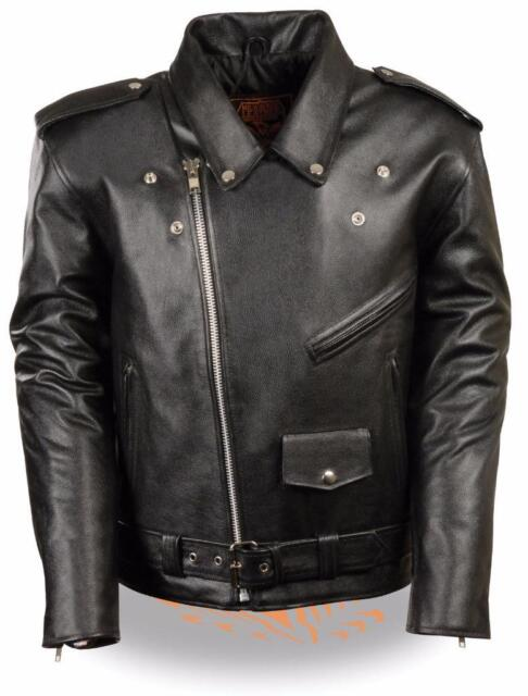 c654a2b6a77 Milwaukee Leather Men s Classic Side Lace Police Style Motorcycle Jacket  Black L