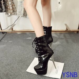 Womens Stiletto High Heels Lace Up Platform Clubwear Shoes Ankle Boots Black US7