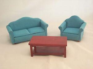 cool 12 scale dollhouse living room set | Living Room Set - Blue/Green - dollhouse furniture 1/12 ...