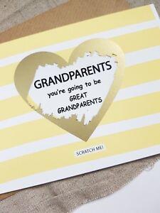 Pregnancy announcement card for grand parents reveal great grandparents