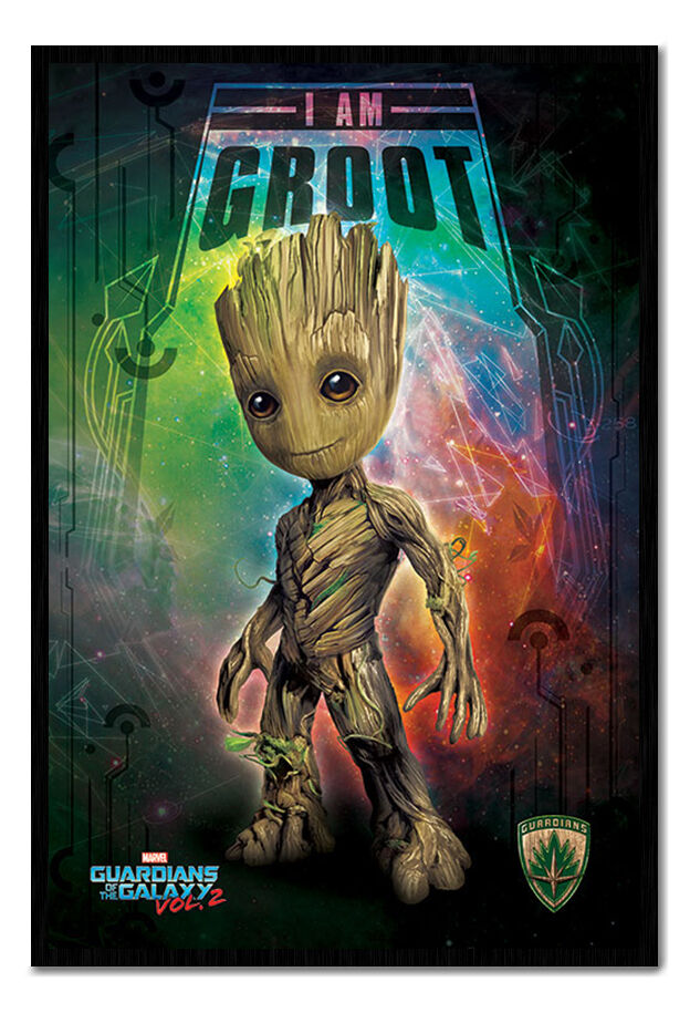 Guardians Of The Galaxy Vol 2 I Am Groot Framed Cork Pin Notice Board With Pins