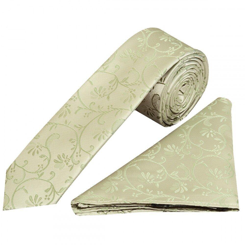 Sage Green Floral Skinny Boys Tie and Pocket Square Set Kid Wedding Tie Children