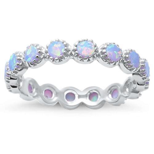 Rond Opale blanc éternité .925 Sterling Silver Ring Bague de fiançailles