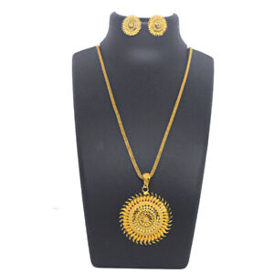 Indian-Flower-Design-Pendant-Necklace-Earrings-Set-Regular-Party-Ware-Jewelry