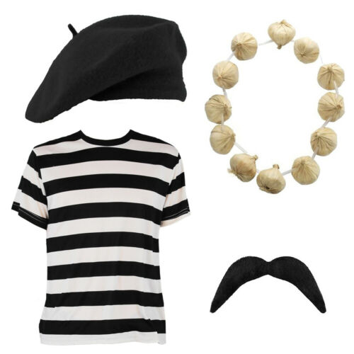 ADULTS FRENCH SET BERET GARLAND TASH T-SHIRT BASTILLE DAY MEN LADIES FANCY DRESS