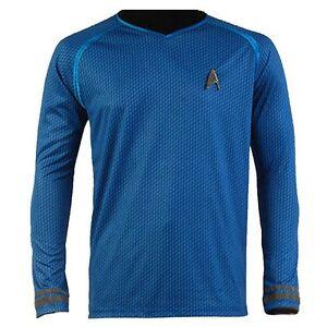 Star-Trek-Into-Darkness-Starfleet-Spock-Costume-Costume-Chemise-Uniforme-Chemise-Bleue