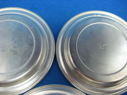 """Dia 3.5/"""" Lot  3 Antique made in Germany  Engraved Pewter Feinzinn Coasters"""