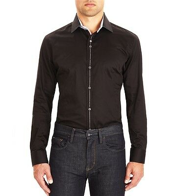 Guide London Black Smart Long Sleeve Sateen Shirt LS73914 Slim Fit Detailed