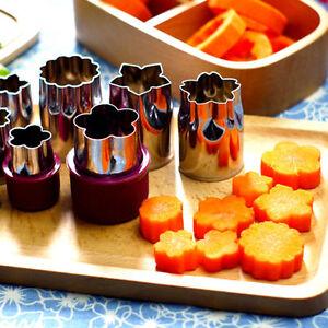 8Pcs//Set Stainless Steel Flower Shape Rice Vegetable Fruit Cutter Mold Slicer