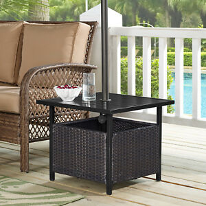 Ulax Furniture Outdoor Wicker Side Table Umbrella Stand Patio Bistro