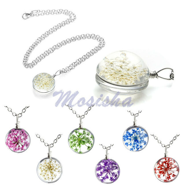 """Womens Resin Dyeing Dried Small Floral Cluster Pendant 20.5""""L Necklace Jewelry"""