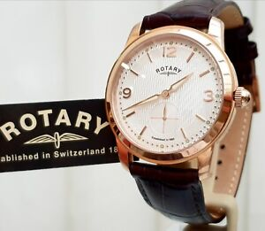 ROTARY-Mens-Watch-Brown-leather-strap-Rose-Good-Plated-RRP-240-Boxed-VGC-r48