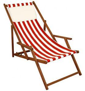Détails sur Chaise de Plage Rouge-Blanc Jardin Longue Hêtre Coussin 10-314  Kh