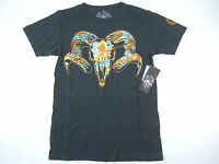 Social Republic Black Carbon Orange Medium Animal Skull Tshirt Mens