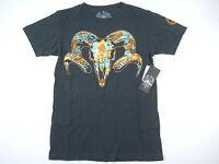 Social Republic Black Carbon Orange Medium Animal Skull Tshirt Mens