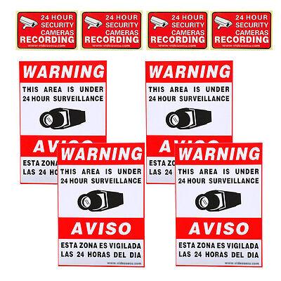 8x Video Security Camera CCTV Home Surveillance Warning Sticker Signs Decals C0j