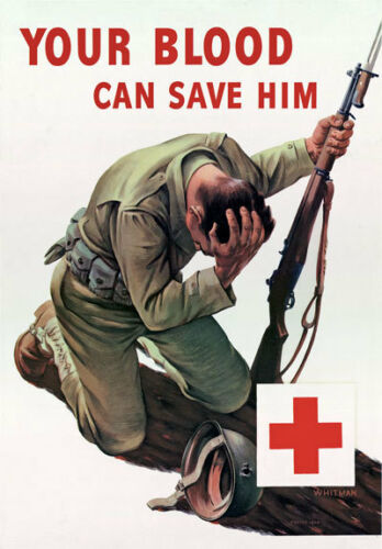 2W38 Vintage WWII Red Cross Give Blood Wartime War Poster WW2 A1 A2 A3