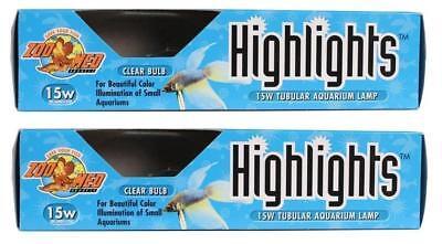 2 Pack Zoo Med Highlights Tubular Aquarium Lamp Clear