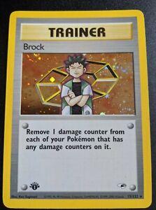 Brock Holo 1st Edition Pokemon Card Gym Heroes 15//132