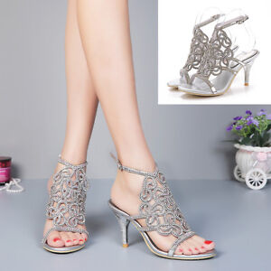 66bb2ba729d Image is loading Silver-Rhinestone-Bride-High-Heels-Women-Prom-Wedding-