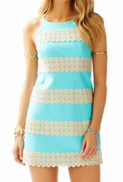 Nuovo Lilly Pulitzer Annabelle Tubino Shorely gold blue Pizzo Righe 0 14