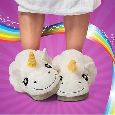 Slip On Adult Size Fantasy White Unicorn Plush Cotton Slippers Indoor Shoes C