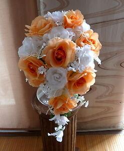 Brautstrauss Hochzeitsstrauss Apricot Weiss Blumenstrauss Hochzeit Ebay