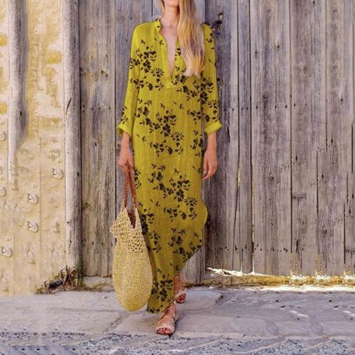 Fashion Women/'s V Neck Summer Dress Casual Lady Bohemia Floral Printed Dress