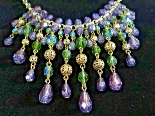FABULOUS VINTAGE DANGLING CRYSTAL NECKLACE WATERFA