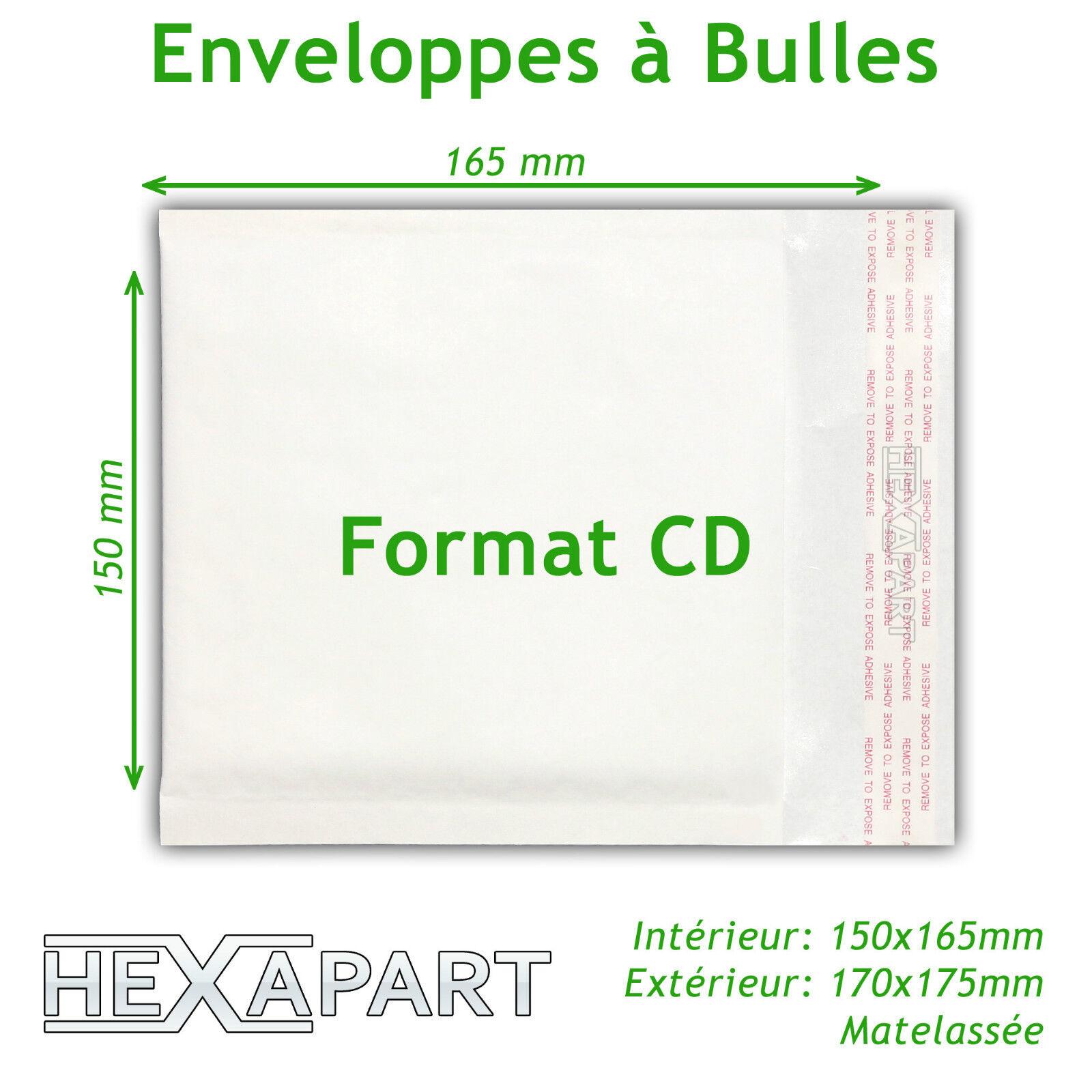 Enveloppe blanche mm à bulles d'air pochettes matelassées 'expedition 150x165 mm blanche fc713e
