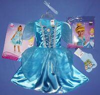 Disney Cinderella Costume Dress Girls 4-6x;cinderella Wig Socks;hairband;lot-4