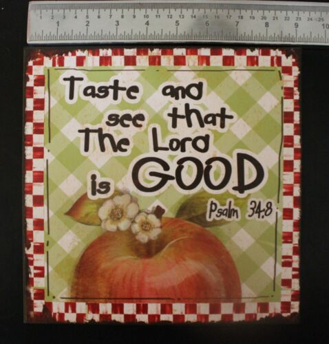 """Apple Wall Sign Psalms 34:8 Picture Metal Country Decor Gingham 9.5/"""""""
