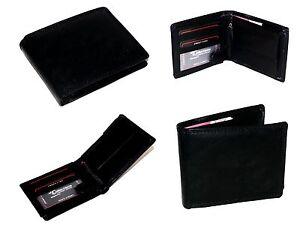 Herren-Damen-Leder-Geldboerse-Portmonee-Portemonnaie-Brieftasche-Schwarz-103-W