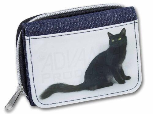 AC-115JW Black Turkish Angora Cat Girls//Ladies Denim Purse Wallet Christmas Gif