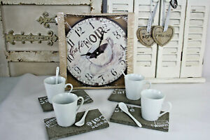 17-tlg-Kaffe-Set-Tasse-Loeffel-Tablett-Wanduhr-Anhaenger-Herz-Keramik-Holz-Stein