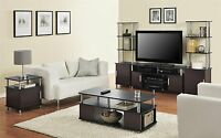 5 Piece Cherry Black Coffee Table Set Living Room Home Accent Furniture
