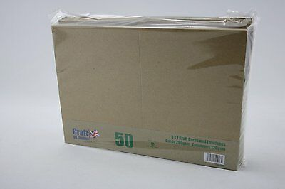 "Pack of 50 Blank 5"" x 7"" Natural Kraft Cards and Envelopes 280 gsm Line 2048"