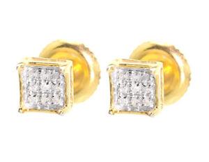 Yellow-Gold-Finish-Mens-Ladies-5mm-Round-Diamond-Prong-Mini-Stud-Earrings-1-20ct