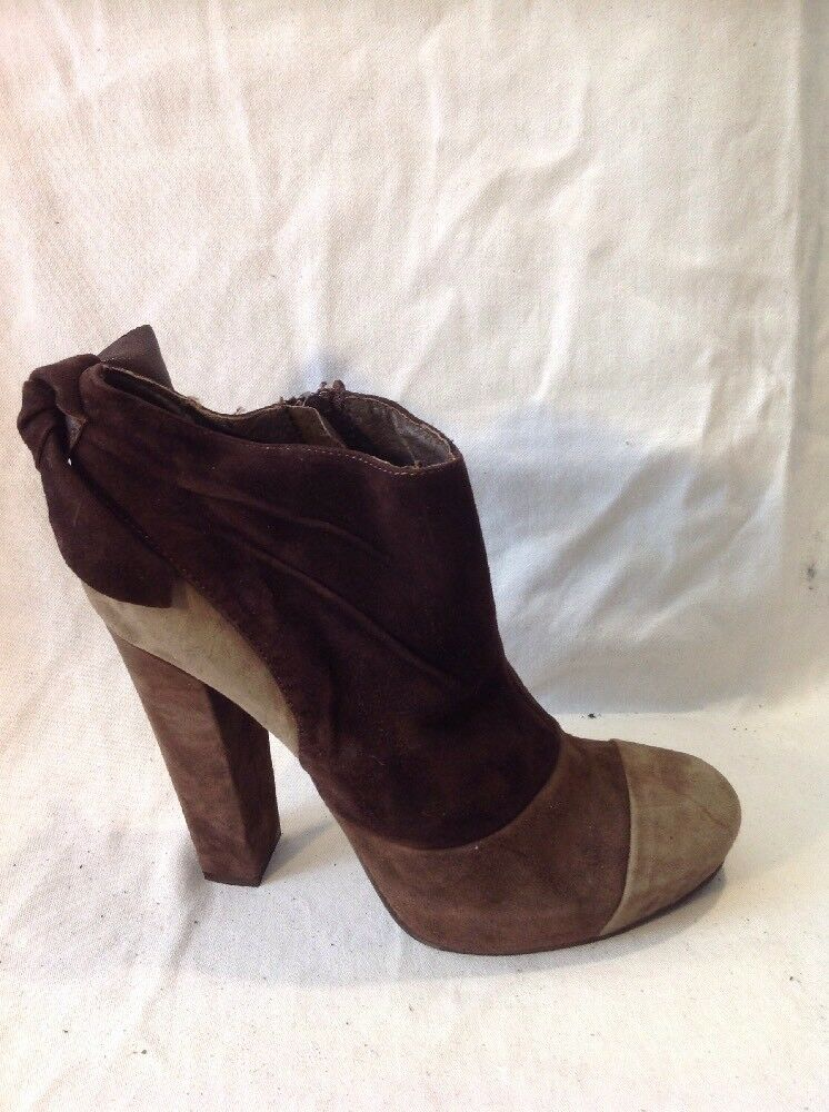 Benetton Brown Ankle Suede Boots Size 37