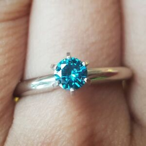 0-25ct-Genuine-Blue-Diamond-Solitaire-Engagement-Whte-Solid-14K-14KT-Gold-Ring