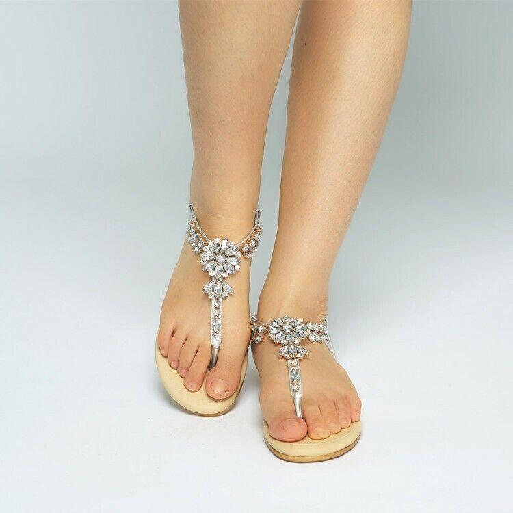 Fashion Women's Rhinestone Slingbacks Sandals Flip Flops Casual shoes Slip On