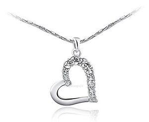 Herzkette-Anhaenger-Weissgold-Vergoldet-Zirkonia-Damen-Liebe-Geschenke-Halskette