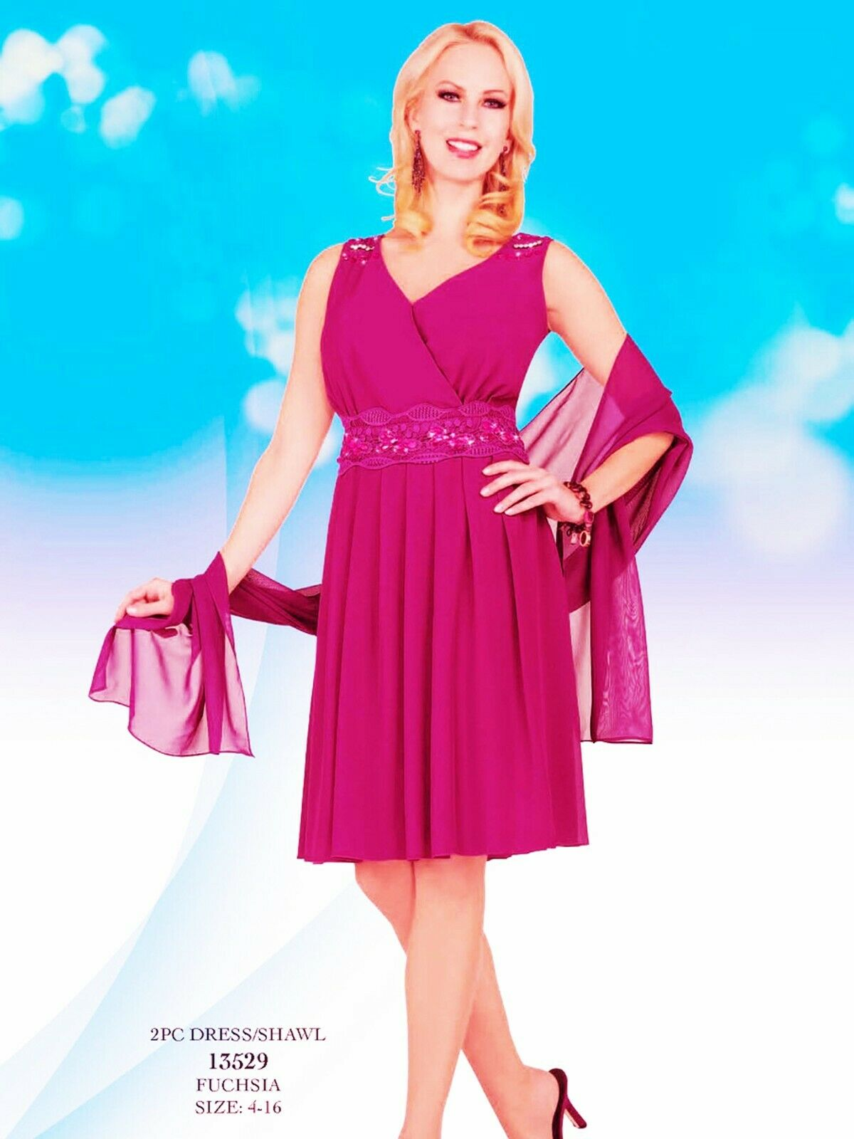 Mother of Bride Dress Cocktail Beaded Knee Length V-Neck Shawl Fuchsia Pink 10
