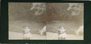 Bambini Neonato Foto Stereo Amateur snapshot n6 Vintage Citrato c1900